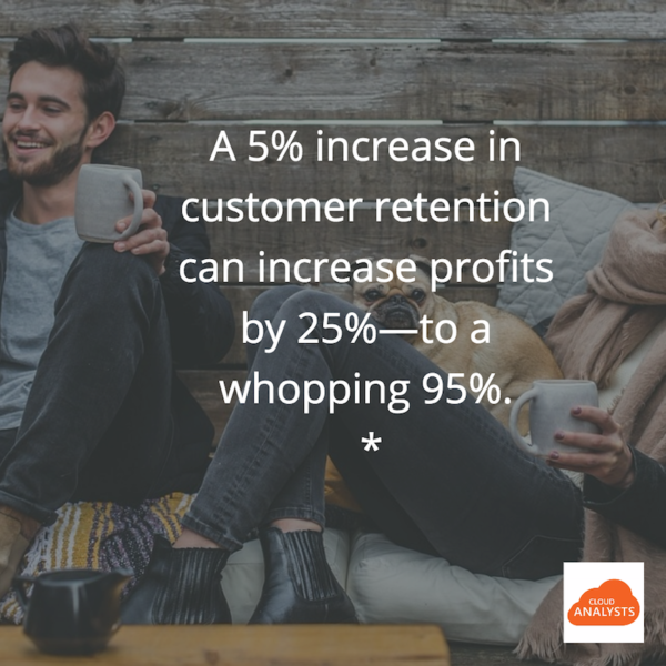 customer-retention-profit-increase: A 'simple' 5% increase in customer retention can increase profit by 25% or more. Sometimes at high as by 95%. That's why Salesforce Service Cloud must be implemented by experienced consultants, so you get the right tool and get it set up right for you.